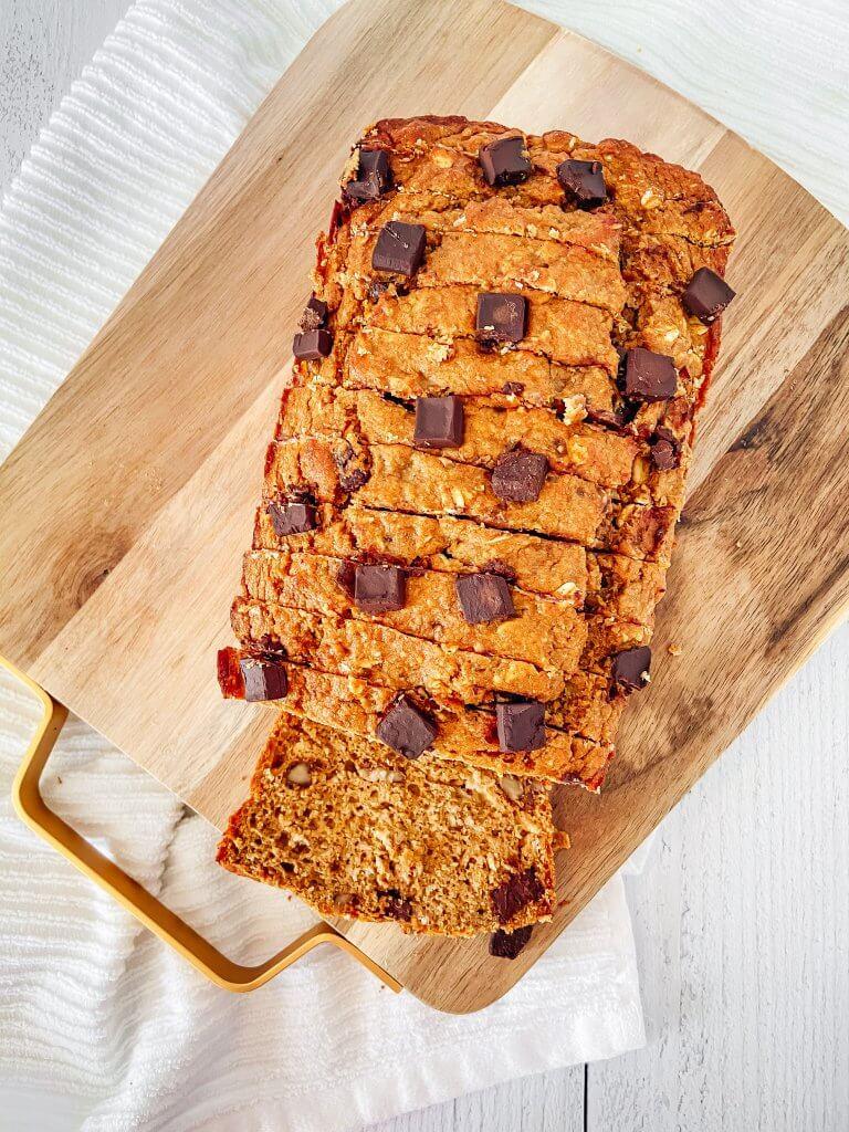 healthy pumpkin banana bread, sliced overhead