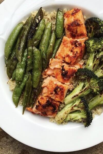 Spicy Salmon & Broccoli Quinoa Bowl