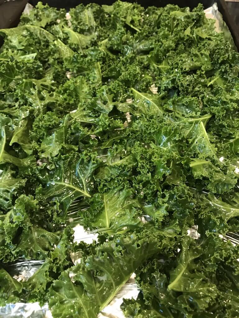 baked parmesan kale chips prep