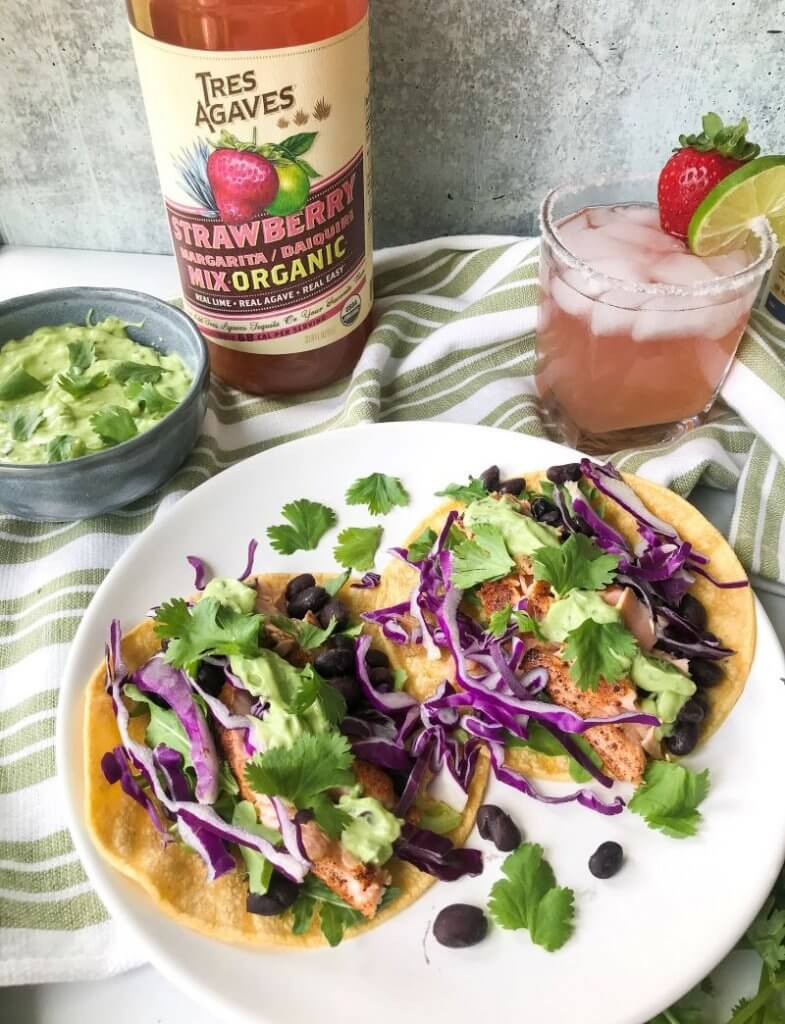 pan-seared salmon tacos with avocado cream sauce strawberry margarita
