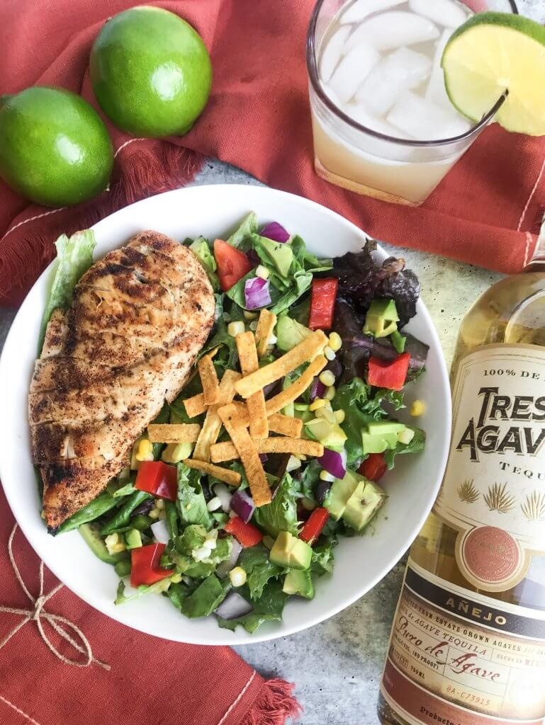 mexican grilled chicken salad with chipotle ranch dressing and tres agaves tequila