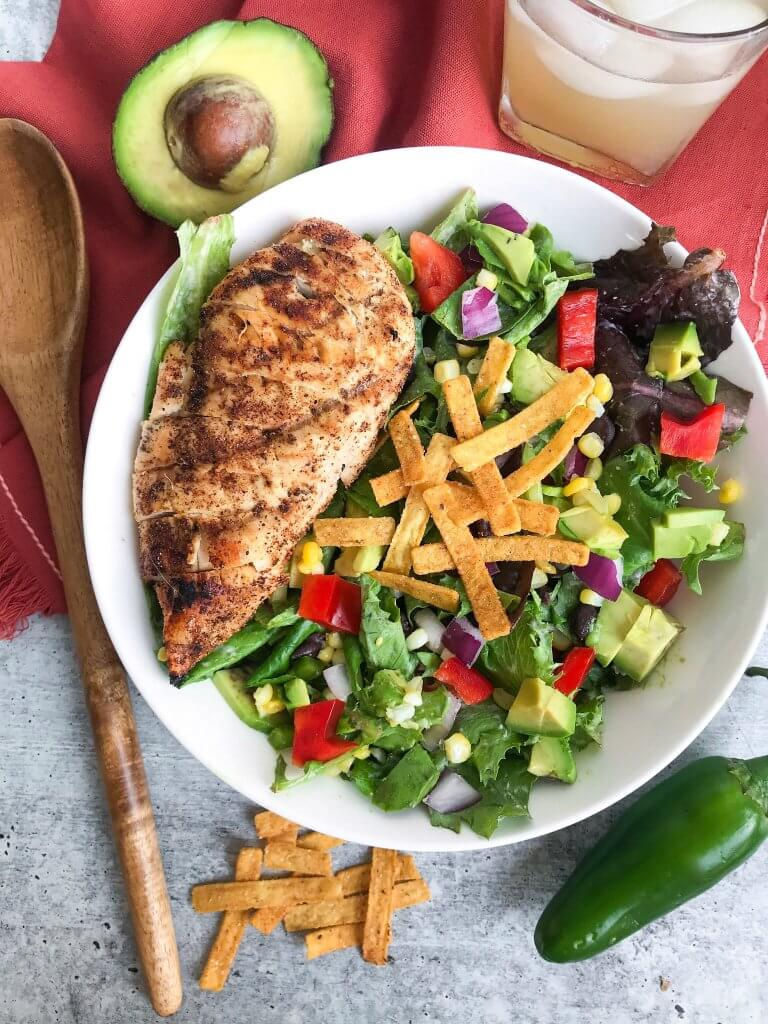 mexican grilled chicken salad with chipotle ranch dressing 1