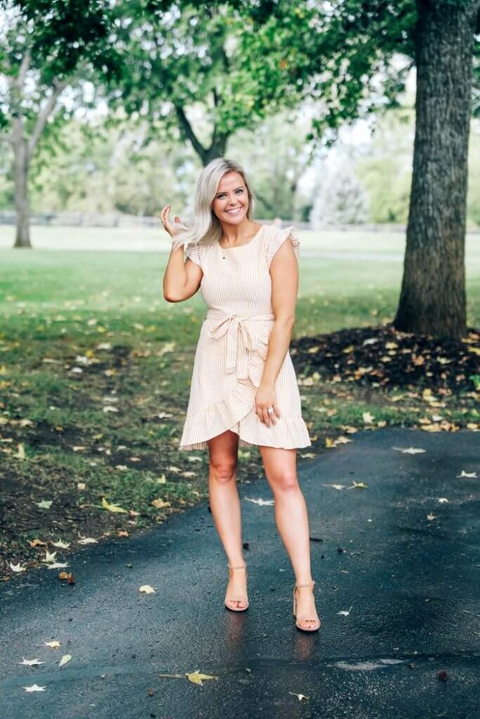 inspired boutique fall collection 2019 kansas city blogger, wedding guest dress, yellow dress, fall fashion