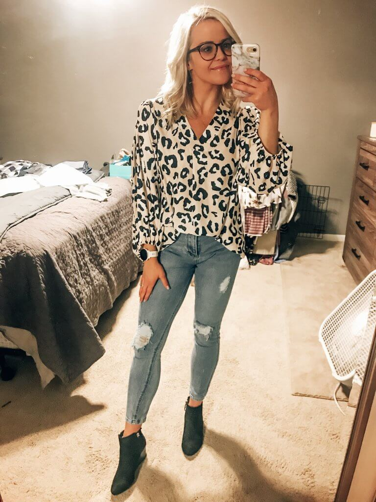 amazon fashion work wear. leopard long sleeve shirt, women's fashion