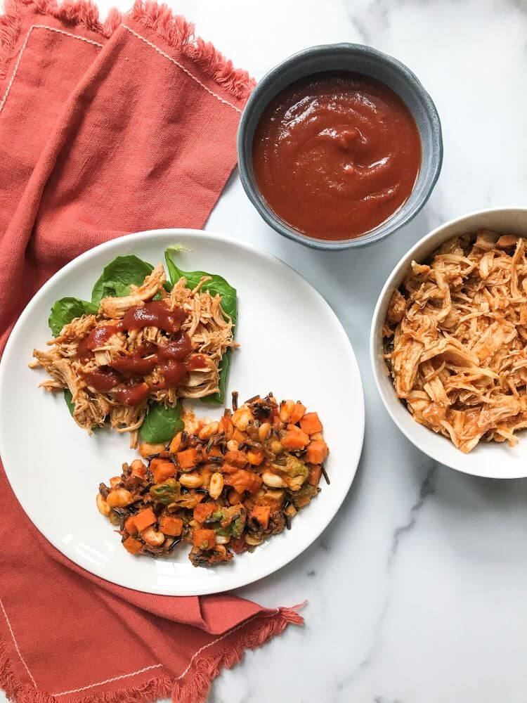 instant pot bbq chicken with homemade barbecue sauce - healthy fall recipe