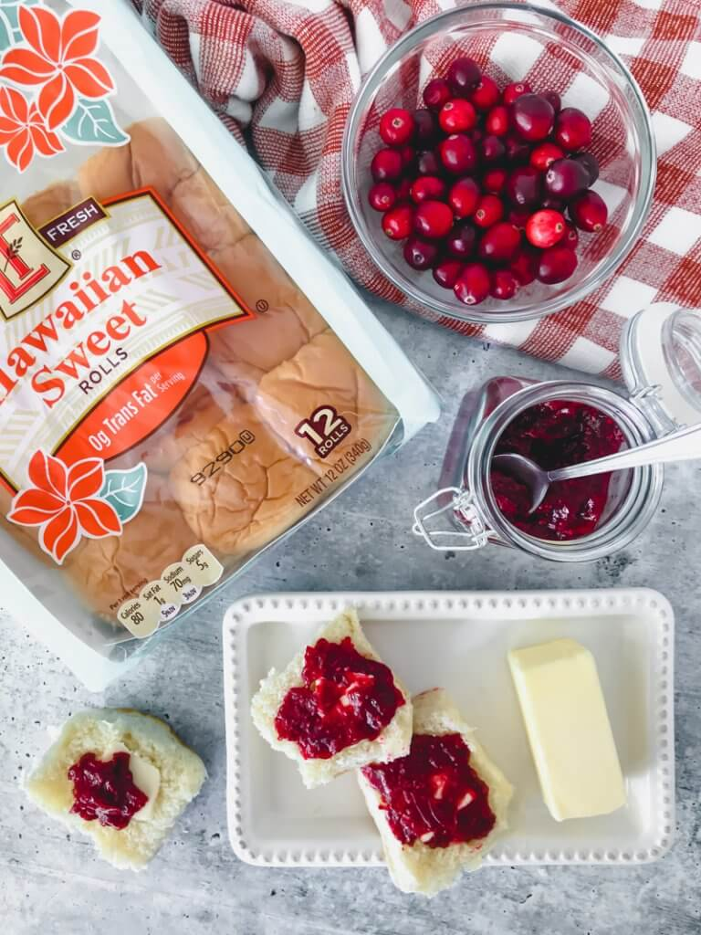 hawaiian sweet rolls, cranberry chia jam