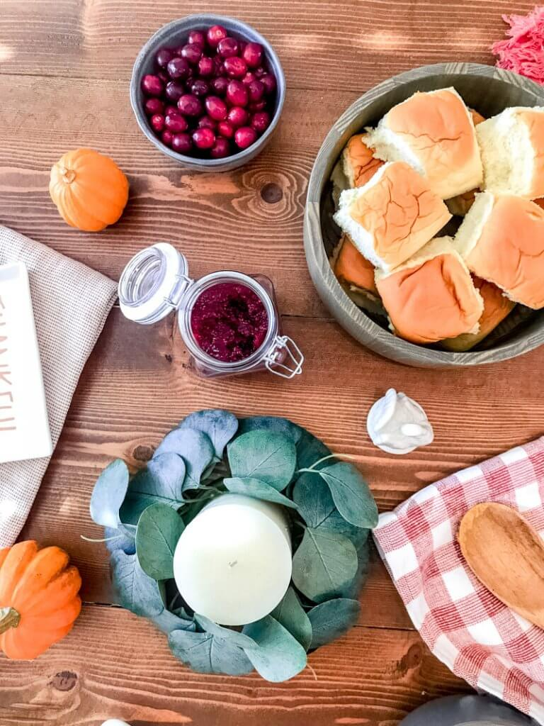 homemade cranberry chia jam; thanksgiving spread, hawaiian rolls