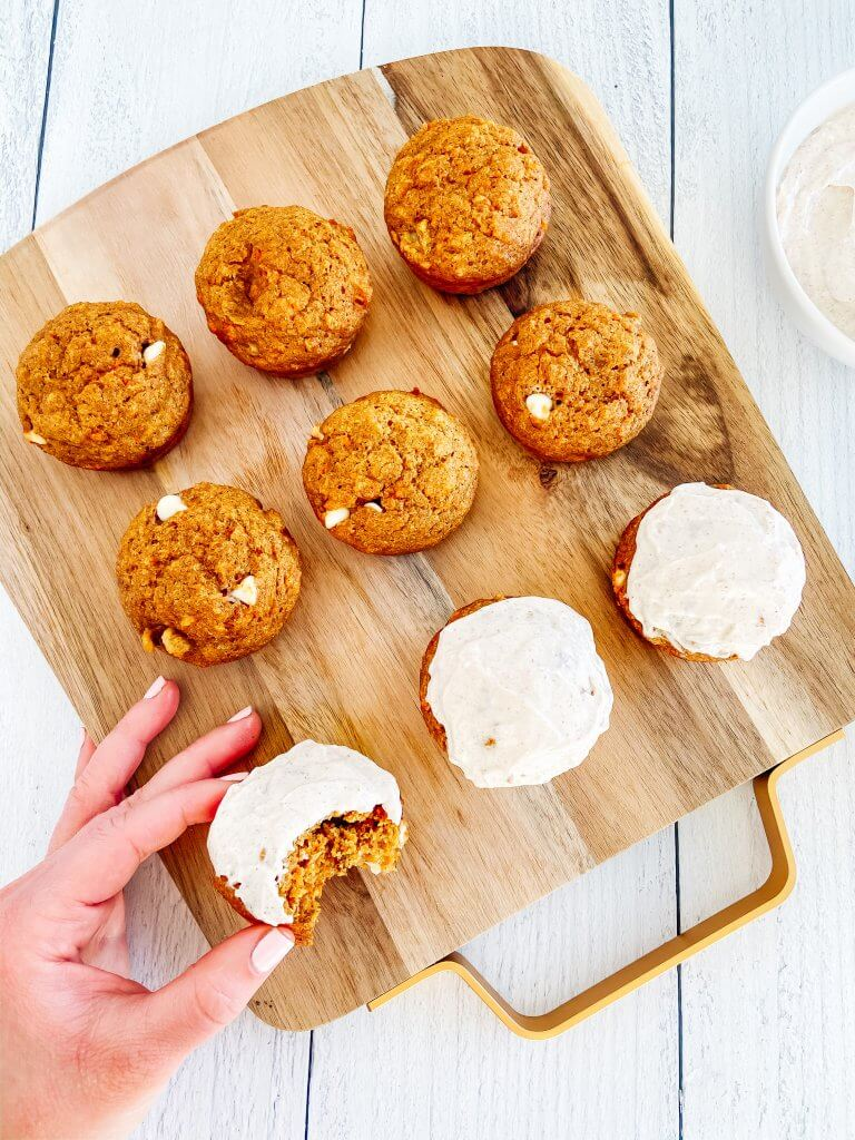 healthy carrot pumpkin muffins with cream cheese frosting