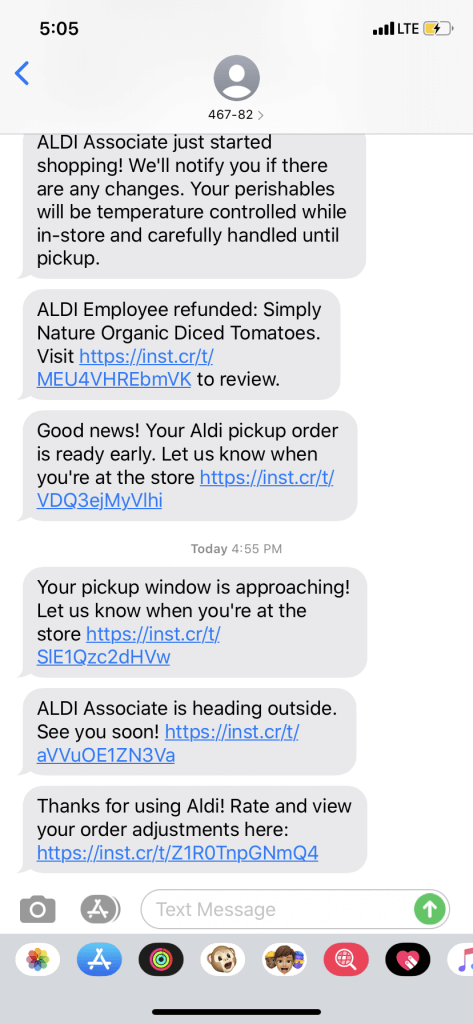 curbside pickup experience with ALDI USA; text confirmation