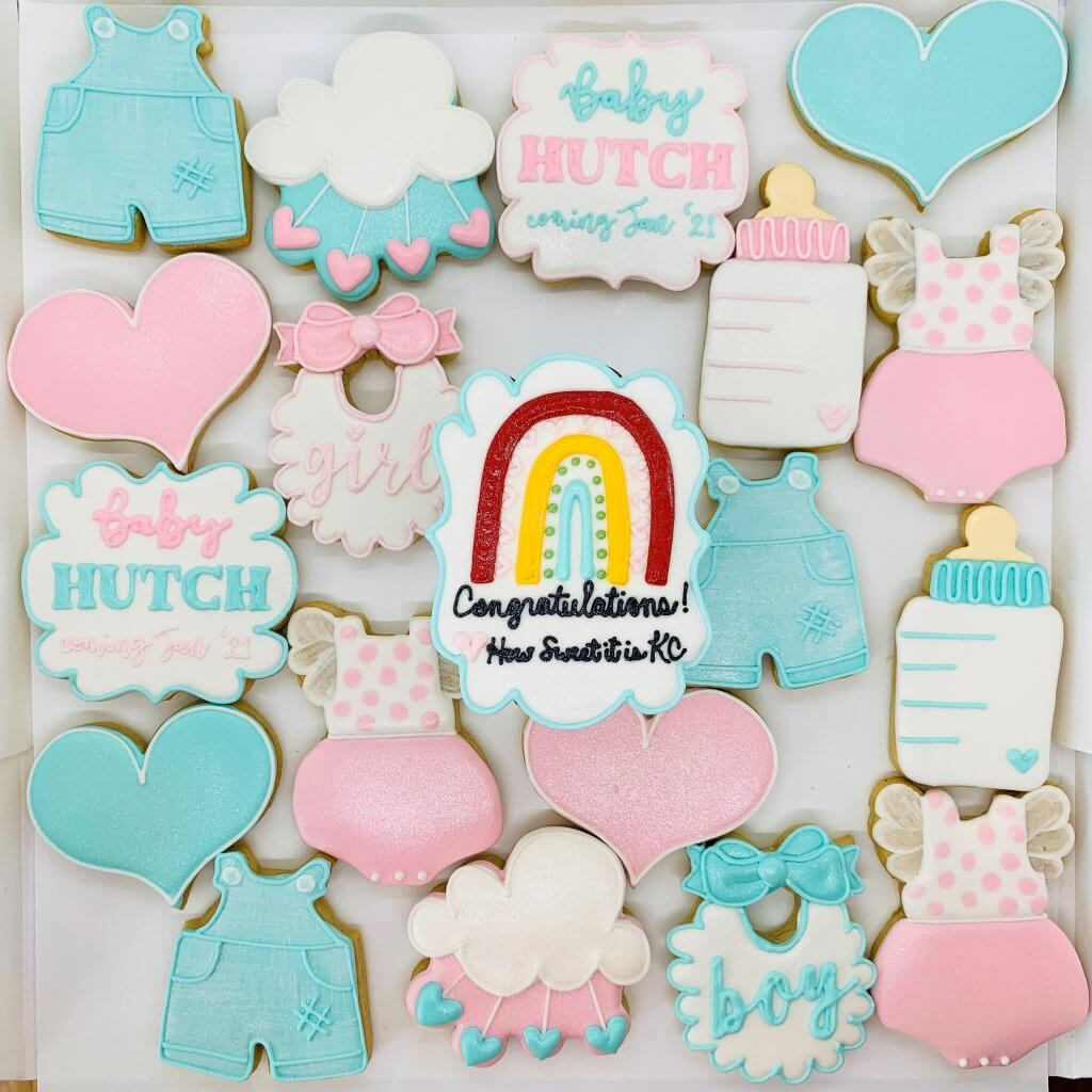 gender reveal party cookies; boy or girl, hearts, rainbow baby