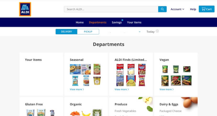 curbside pickup experience with ALDI USA; browse grocery departments