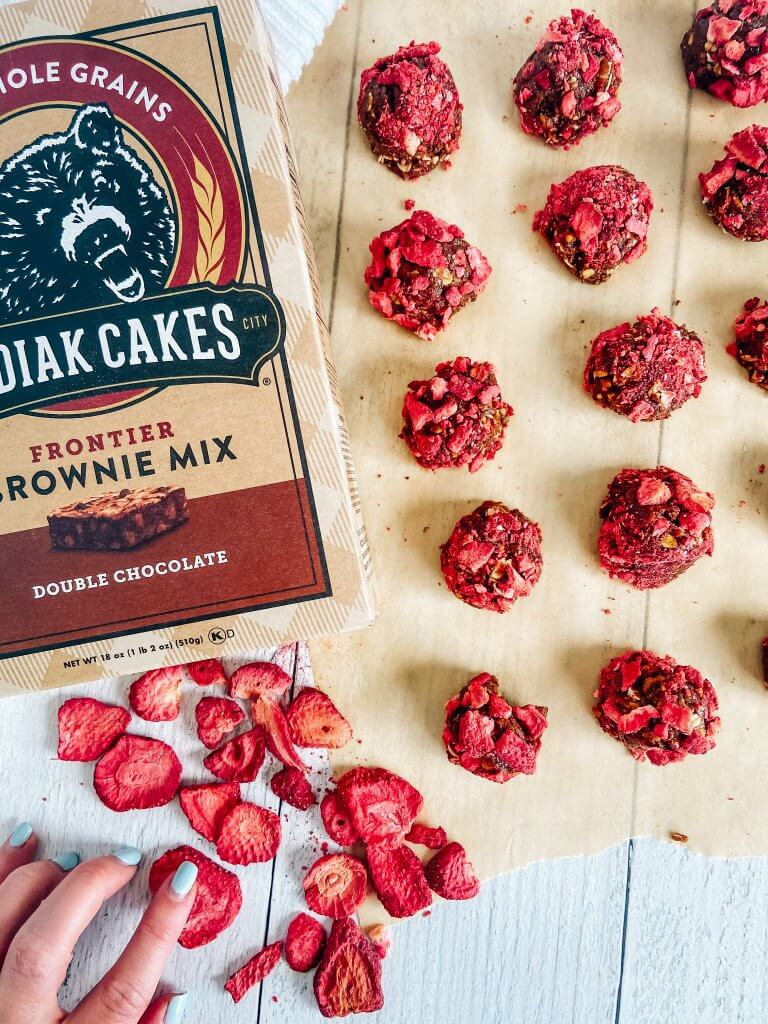 no-bake brownie bites with strawberry bits, kodiak cakes mix