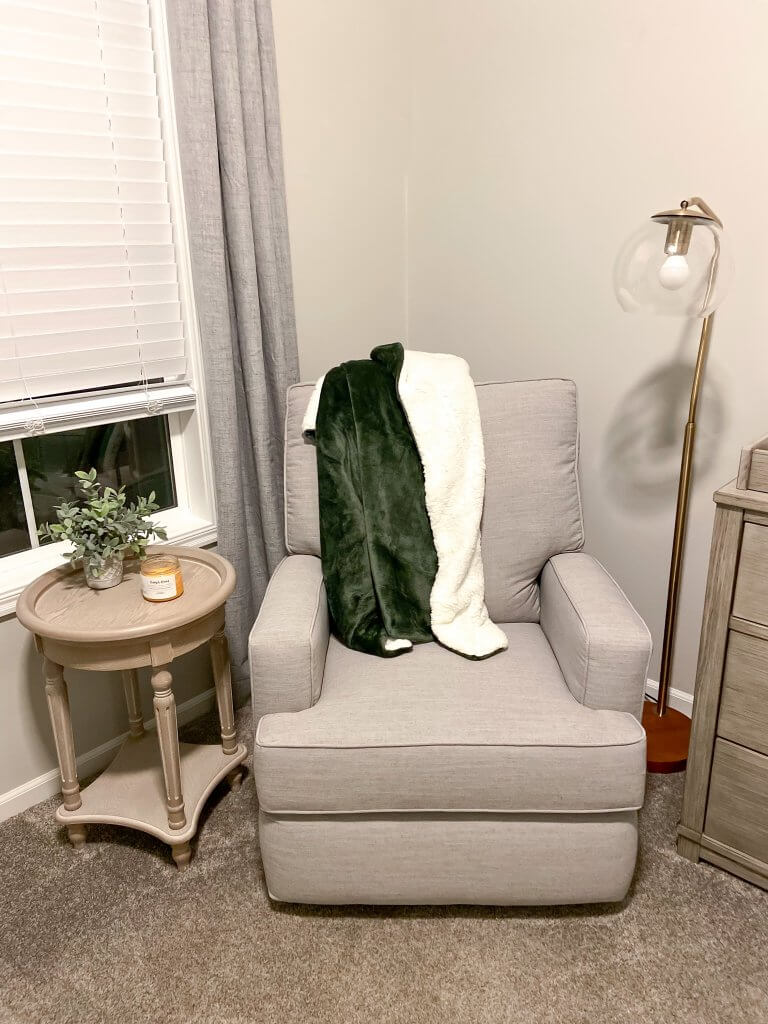 baby boy nursery decor; recliner, floor lamp, side table
