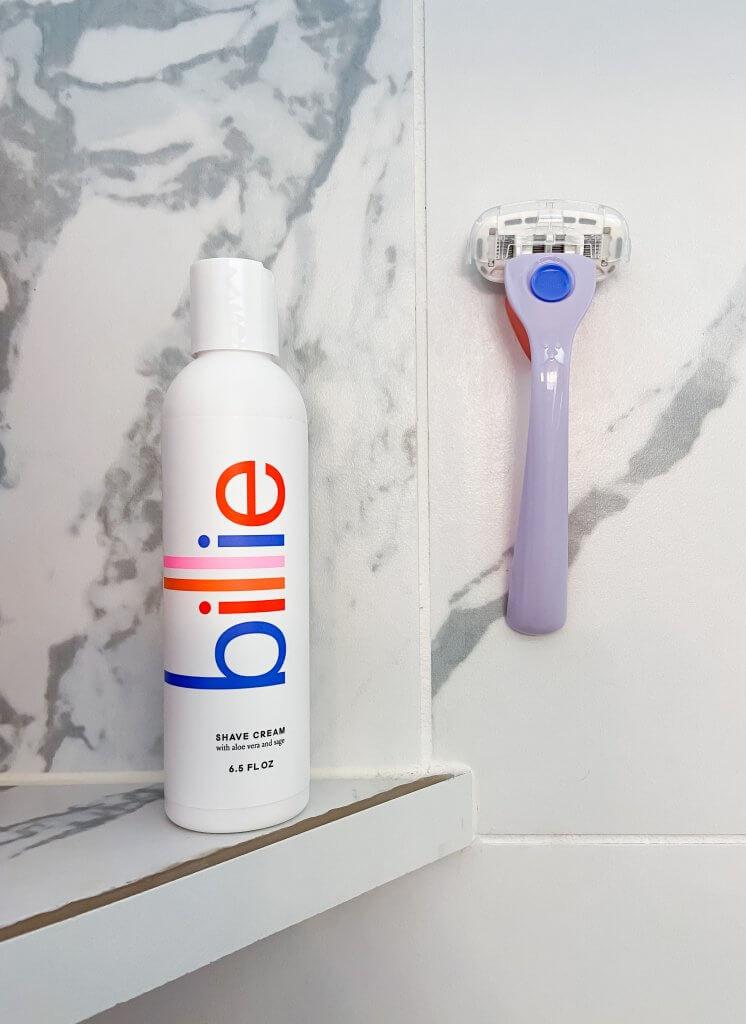 why i love the billie razor; shave cream, shower wall holder