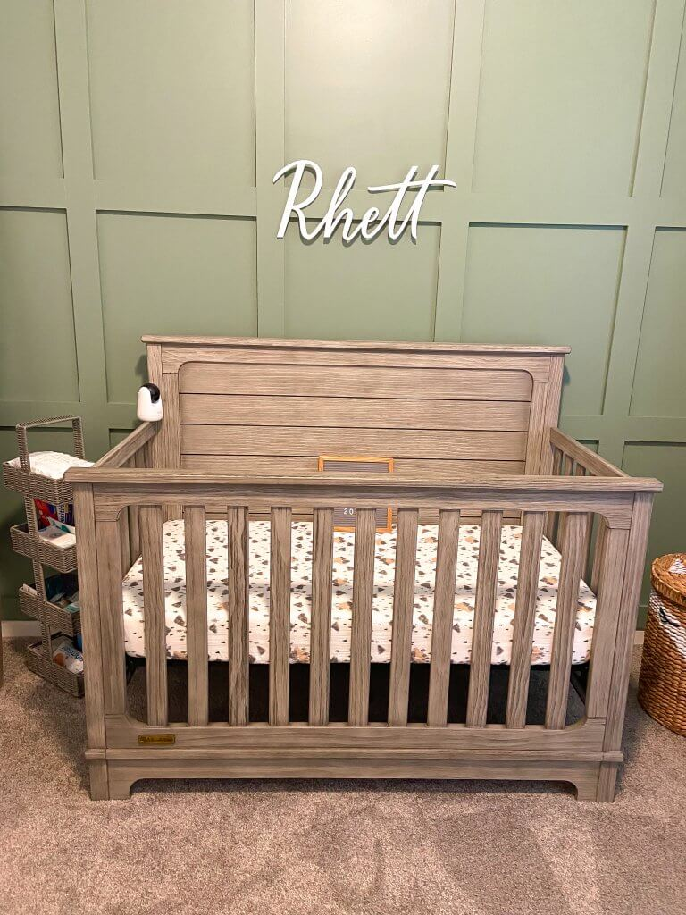 baby boy nursery decor; crib and name sign