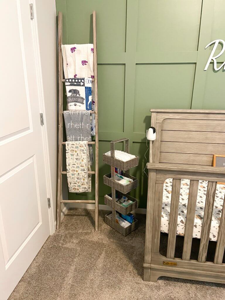 baby boy nursery decor; blanket ladder and blankets