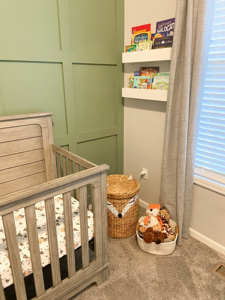 baby boy nursery decor; bookshelves, stuffed animals