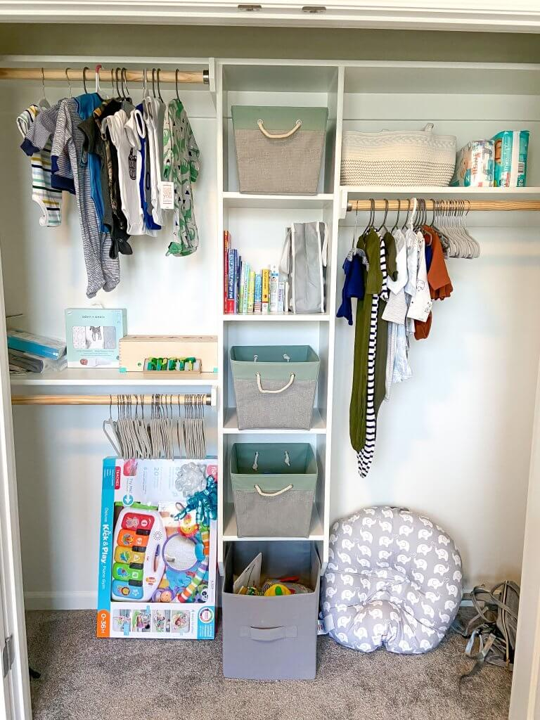 baby boy nursery decor; closet organization