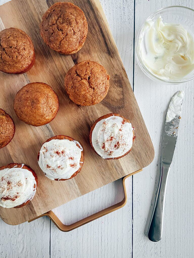 healthy gingerbread muffins, with frosting