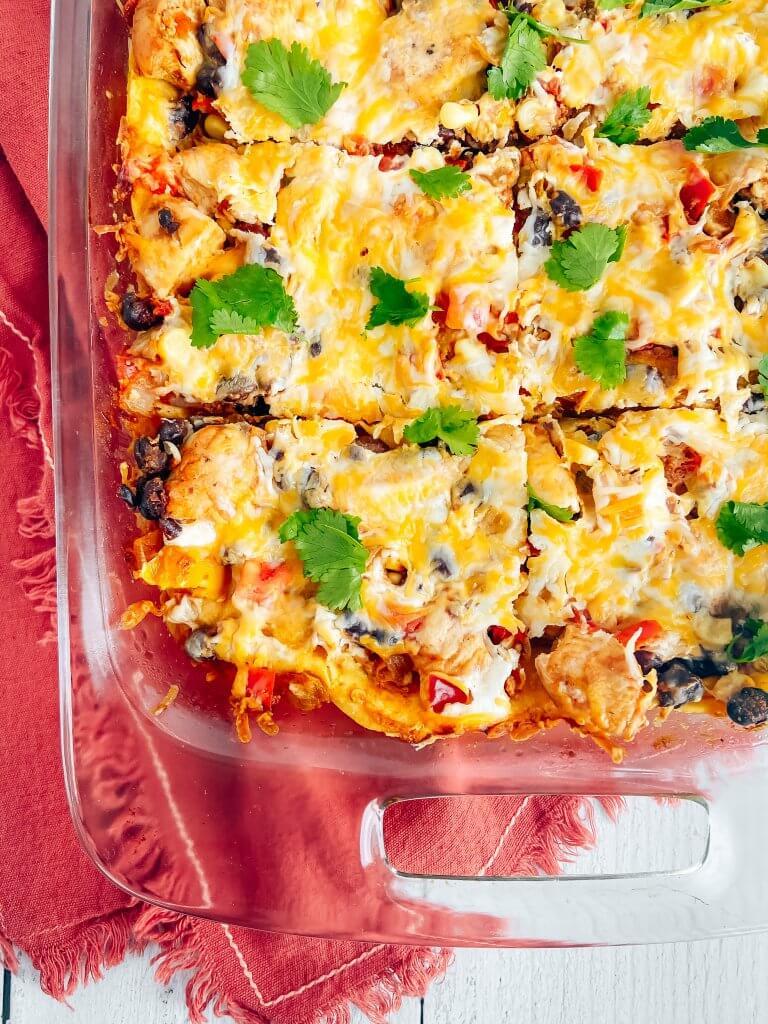healthy chicken enchilada bake