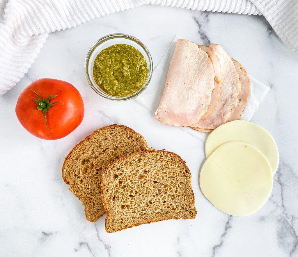 easy turkey pesto paninis - ingredients