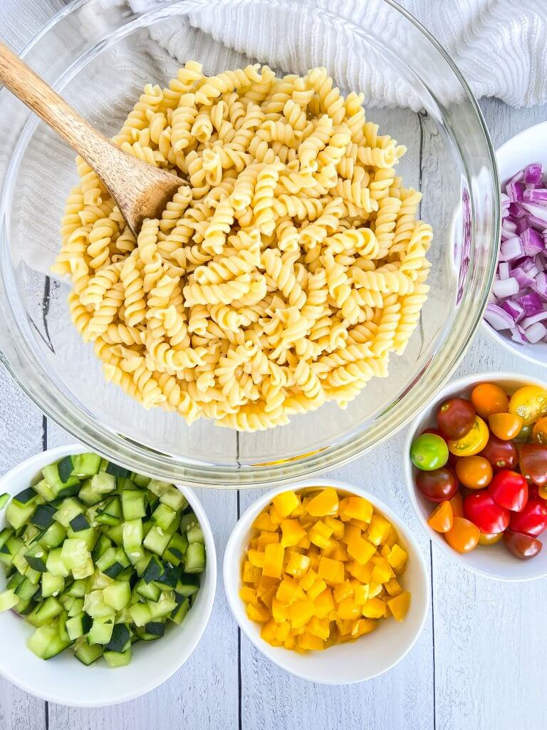 healthy summer pasta salad, ingredients